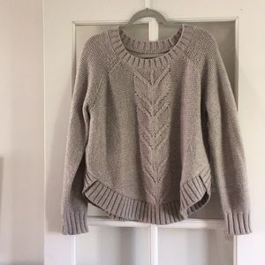 Aerie Beige Chunky Cable Knit Sweater